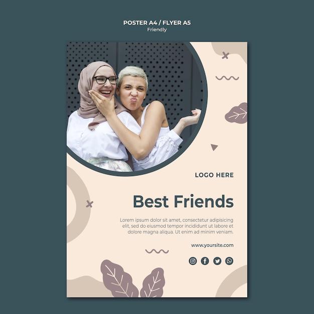 Szablon Wydruku Plakatu Najlepszych Przyjaciół Darmowe Psd