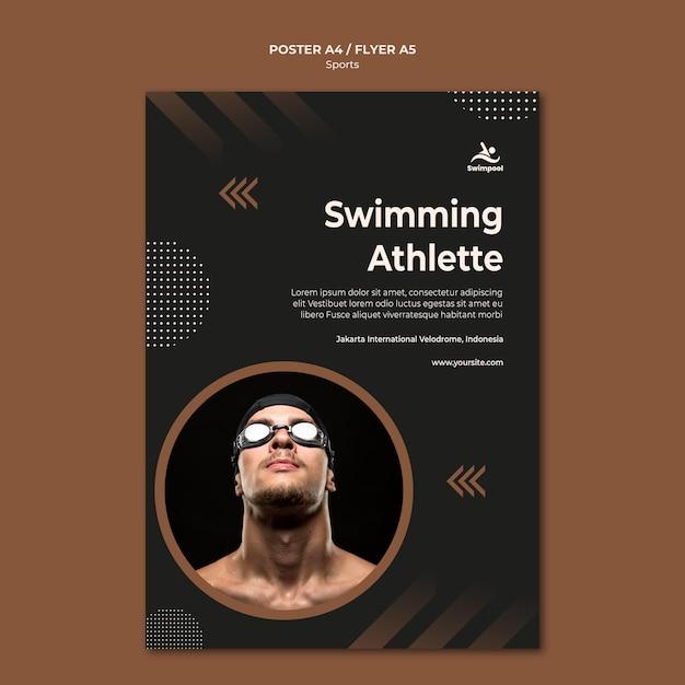 Szablon Wydruku Plakatu Sportowca Pływania Darmowe Psd