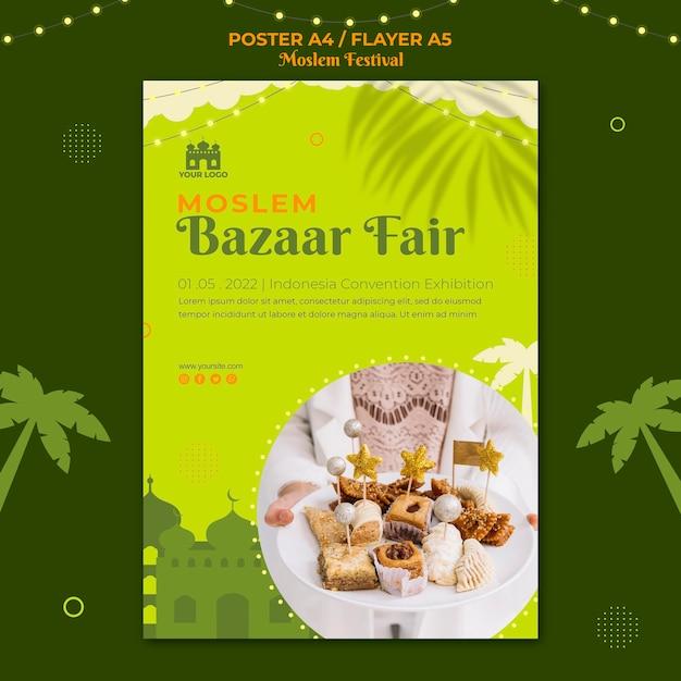 Szablon Wydruku Plakatu Targowego Targów Muzułmańskiego Bazaru Darmowe Psd
