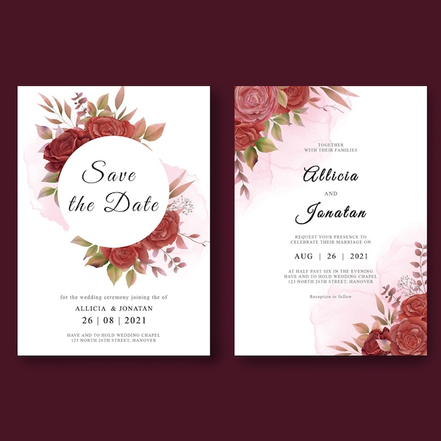Szablon Zaproszenia ślubne Z Akwarela Dekoracje Kwiatowe Premium Psd