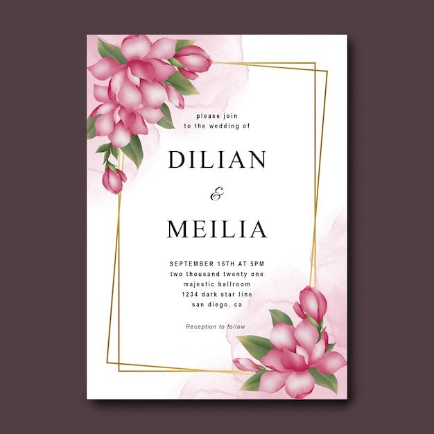 Szablon Zaproszenia ślubne Z Akwarela Różowe Kwiaty Premium Psd