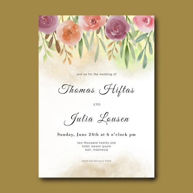 Szablon Zaproszenia ślubne Z Bukietem Kwiatów Akwarela Premium Psd