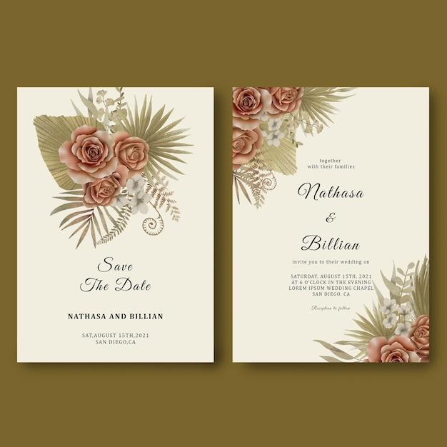 Szablon Zaproszenia ślubne Z Tropikalnymi Liśćmi I Akwarelowymi Różami Premium Psd