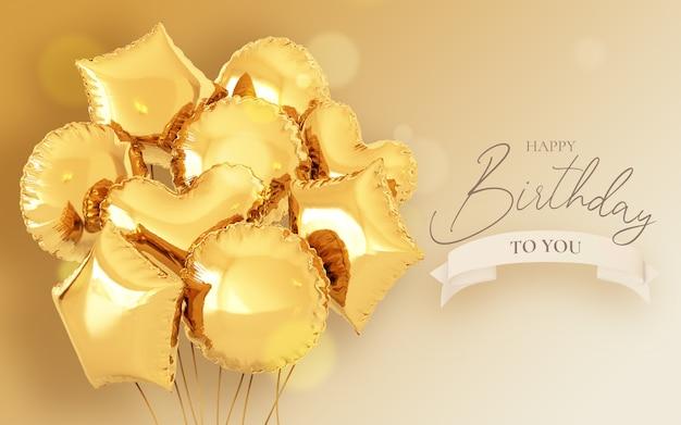 Szablon Zaproszenia Urodzinowego Z Realistycznymi Balonami Darmowe Psd