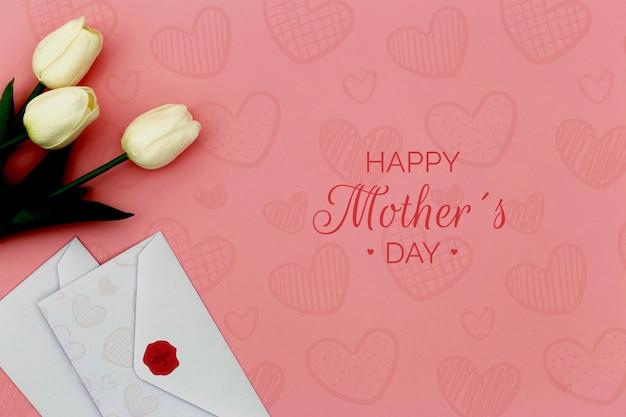 Szczęśliwego Dnia Matki Z Tulipanów I Kopert Darmowe Psd