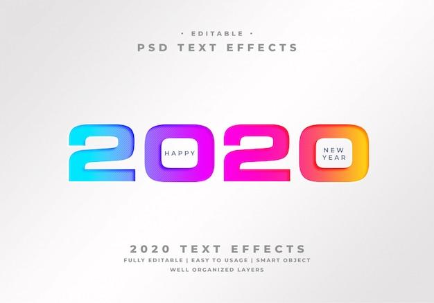 Szczęśliwego Nowego Roku 2020 Efekt Stylu Tekstu Premium Psd
