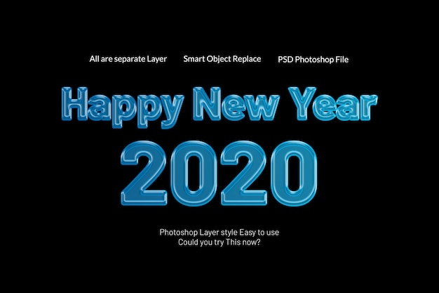 Szczęśliwego Nowego Roku 2020 Kreatywny Nowoczesny Efekt Cukierków Tekstowych W Stylu 3d Premium Psd