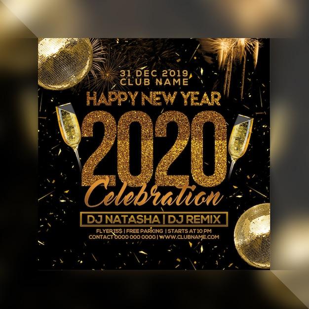 Szczęśliwego Nowego Roku 2020 Ulotki Party Uroczystości Premium Psd