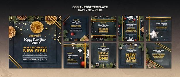 Szczęśliwego Nowego Roku 2021 Szablon Postu W Mediach Społecznościowych Darmowe Psd
