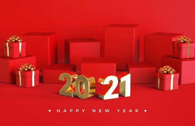 Szczęśliwego Nowego Roku 2021 Z Renderowaniem Obiektów 3d Premium Psd