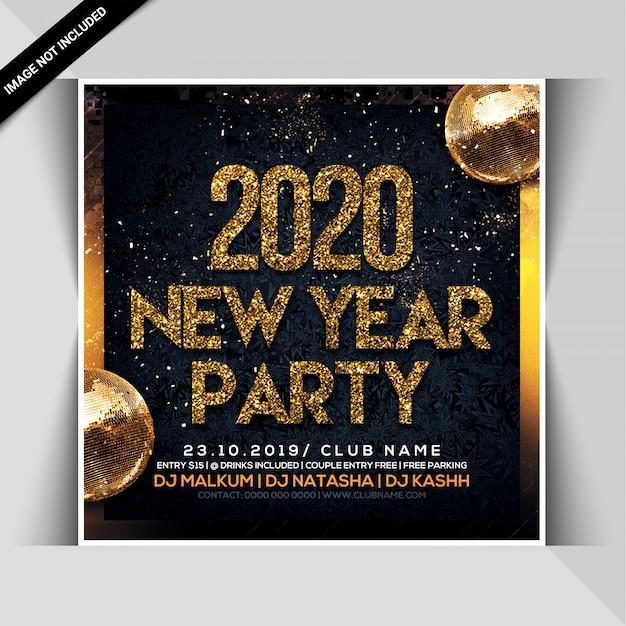 Szczęśliwego Nowego Roku Celebracja Noc Party Ulotki Premium Psd