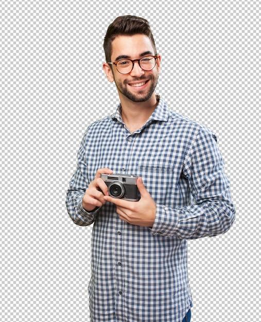 Szczęśliwy Człowiek Robienia Zdjęć Premium Psd
