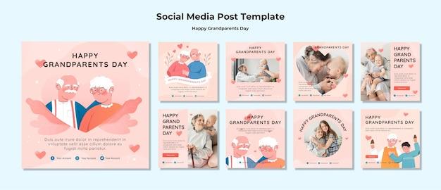 Szczęśliwy Dzień Dziadków W Mediach Społecznościowych Darmowe Psd