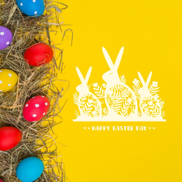 Szczęśliwy Dzień Wielkanocny. Darmowe Psd