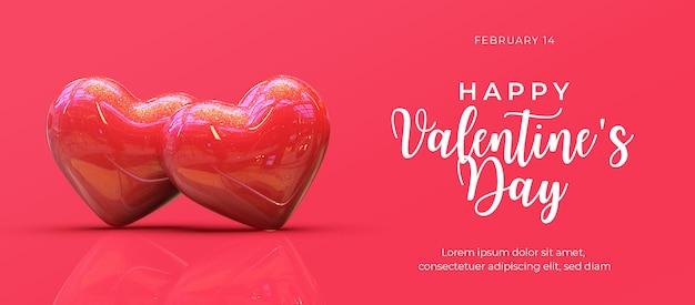 Szczęśliwy Transparent Walentynki Premium Psd