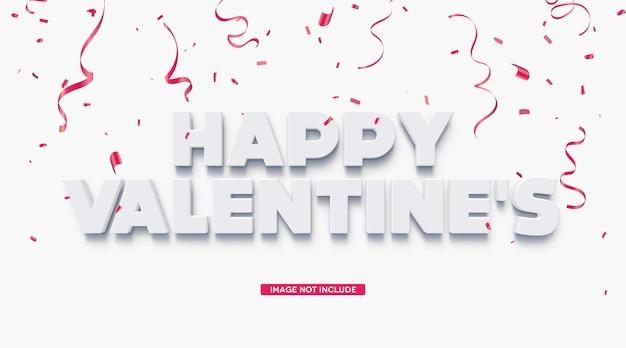 Szczęśliwych Walentynek 3d Szablon Efektu Tekstowego Premium Psd