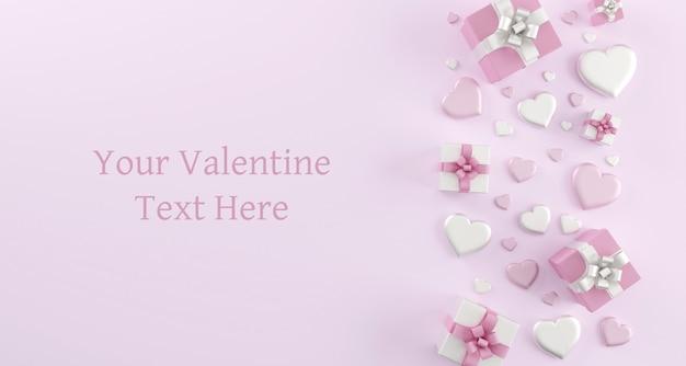 Szczęśliwych Walentynek Kartkę Z życzeniami Szablon Z Serca Premium Psd