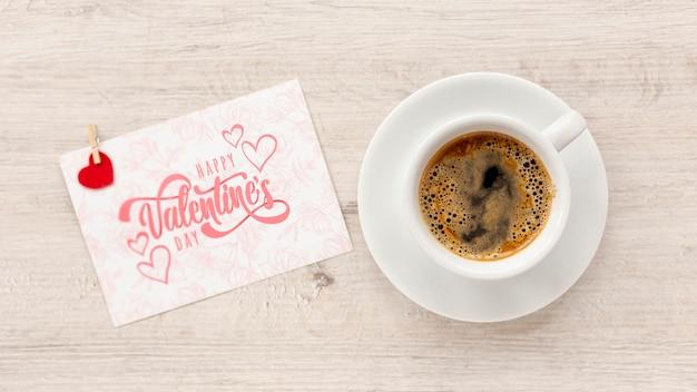 Szczęśliwych Walentynek Napis Z Filiżanką Kawy Darmowe Psd