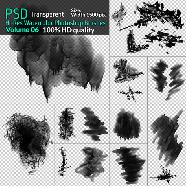 Szczotki akwarela photoshop png Premium Psd