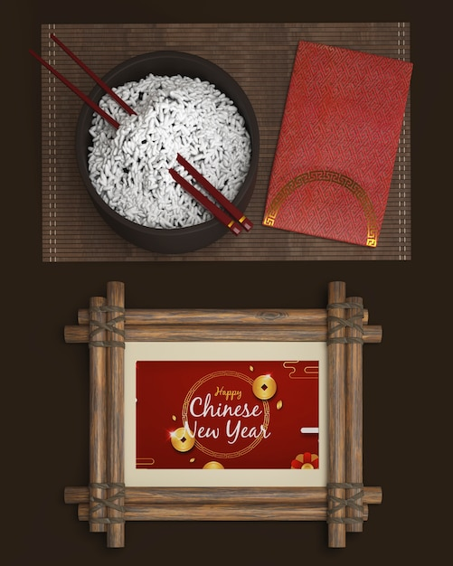 Taca Z Ryżem I Dekoracjami Na Nowy Rok Darmowe Psd