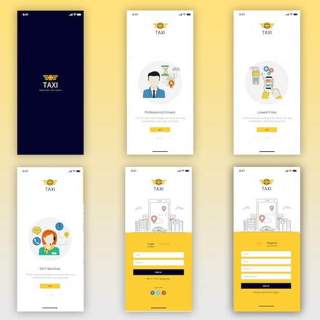 Taxi booking mobile ui kit Premium Psd