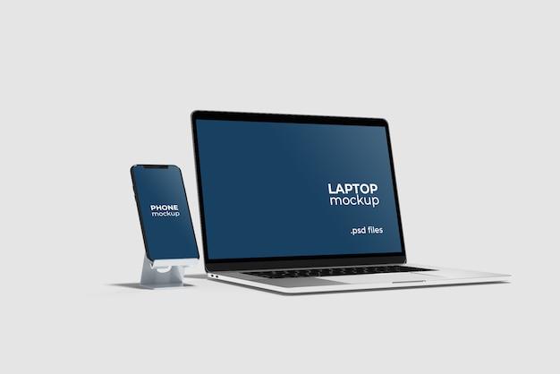 Telefon Ze Stojakiem I Makietą Laptopa Premium Psd