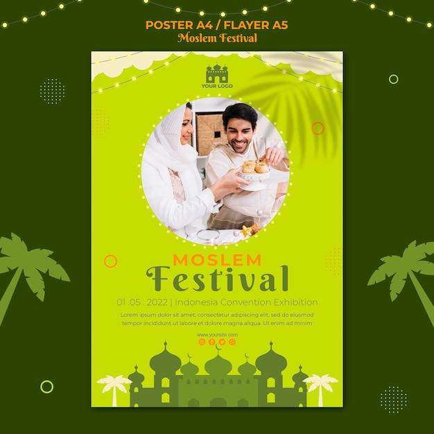 Tradycyjny Szablon Wydruku Plakatu Muzułmańskiego Festiwalu Darmowe Psd
