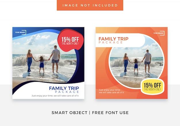 Travel family trip media social banner Premium Psd