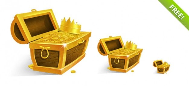 Treasure chest z golden coins and crown Darmowe Psd