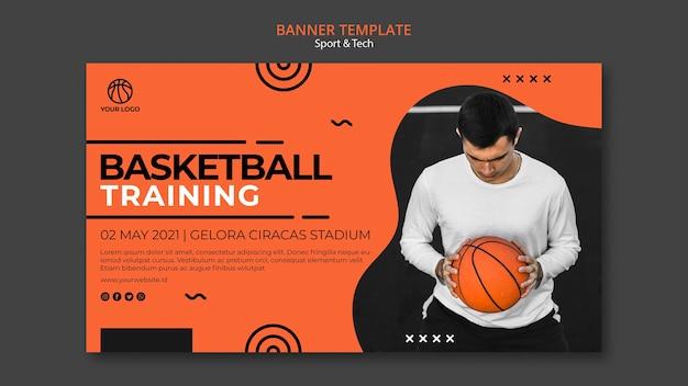 Trening Koszykówki I Szablon Transparent Człowieka Darmowe Psd