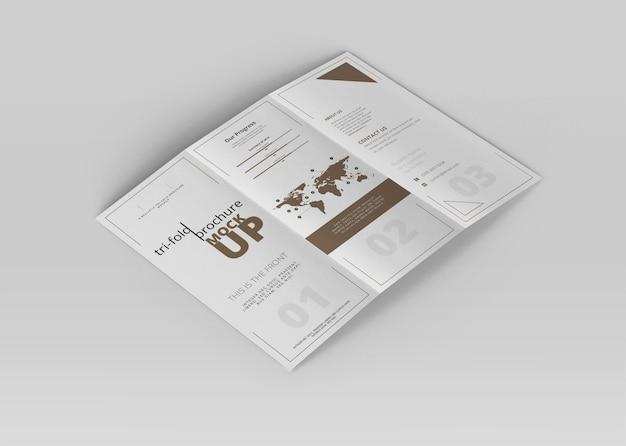 Tri-fold Broszura Makieta Premium Psd