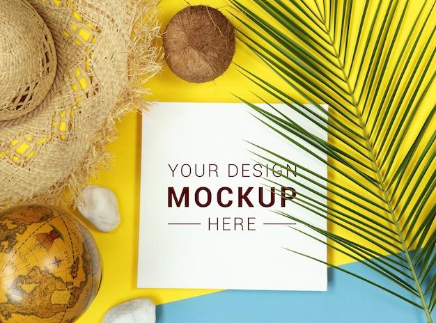 Tropikalna makieta z liści palmowych i świata Premium Psd