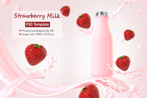 Truskawkowy Mleko Tła Szablon Renderowania 3d Premium Psd