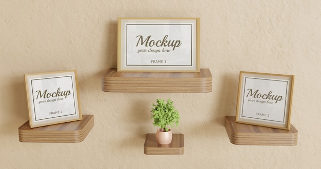 Trzy Ramki Makieta Na Drewnianym Biurku Na ścianie Premium Psd
