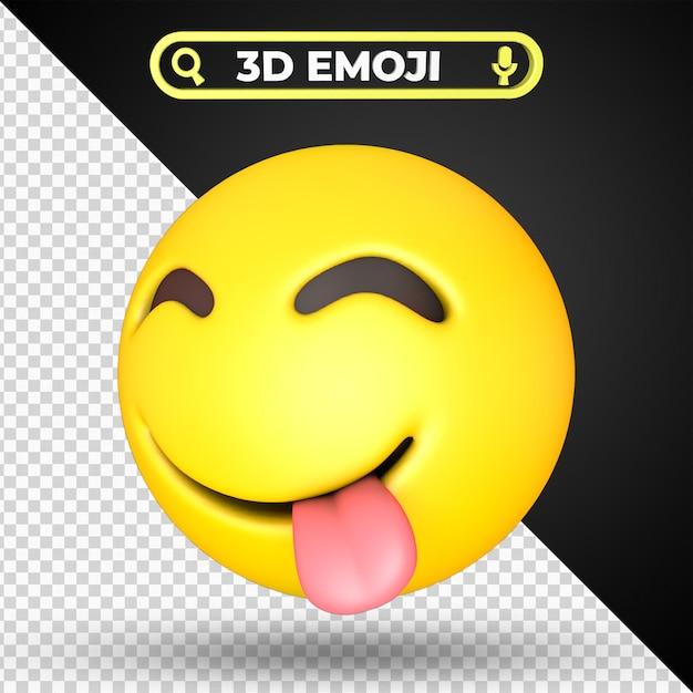 Twarz Smakuje Pyszne Jedzenie Emoji Na Białym Tle Premium Psd