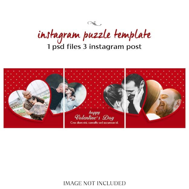 Twórcze Nowoczesne Romantyczne Walentynki Instagram Puzzle Post Szablon I Zdjęcie Makieta Premium Psd
