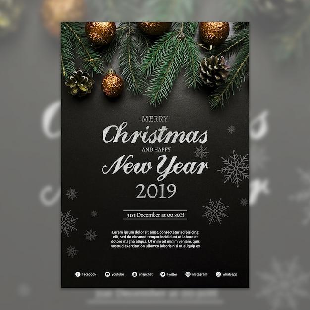 Twórczy szablon okładki świąteczne Darmowe Psd