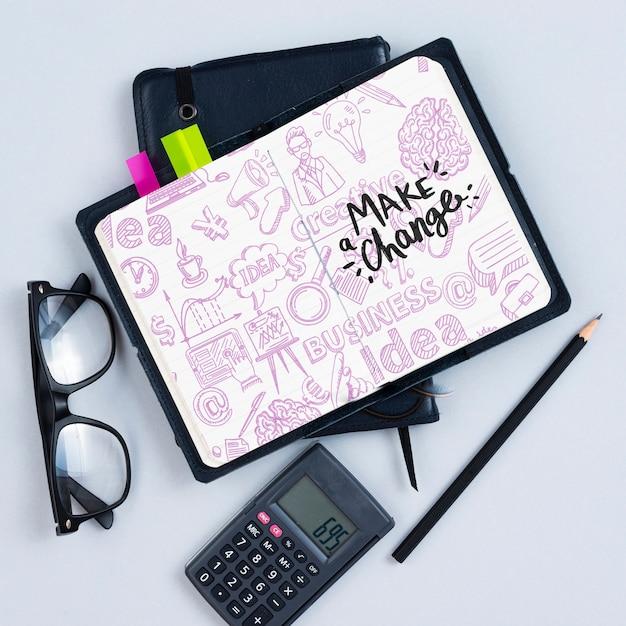 Układ Płaski Z Kalkulatorem I Notatnikiem Darmowe Psd