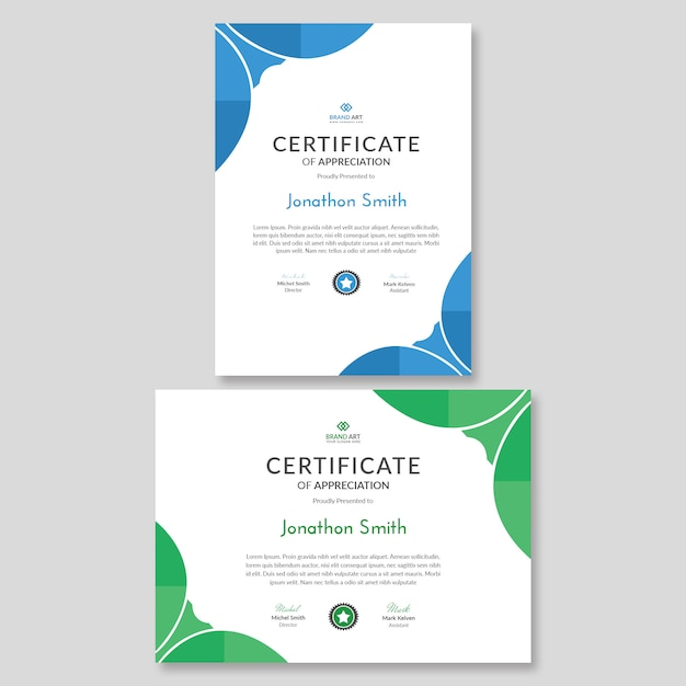 Układ szablonu certyfikatu streszczenie Premium Psd