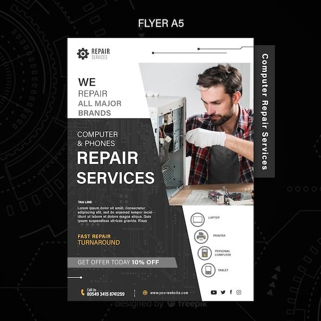 Ulotka Dotycząca Usług Naprawy Komputerów I Telefonów Darmowe Psd
