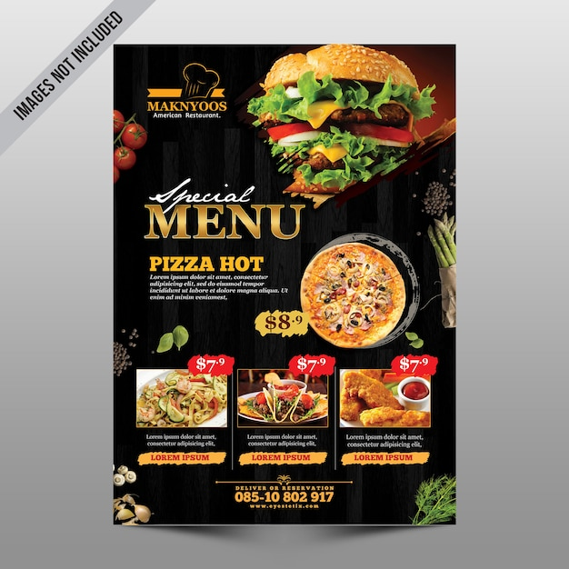 Ulotka menu restauracji Premium Psd