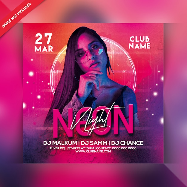 Ulotka Neon Night Party Premium Psd