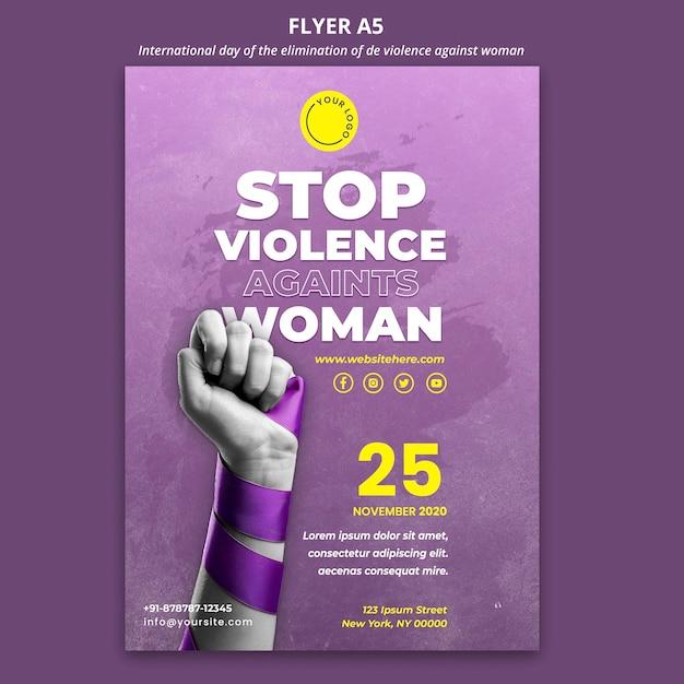 Ulotka świadomość Przemocy Wobec Kobiet Darmowe Psd