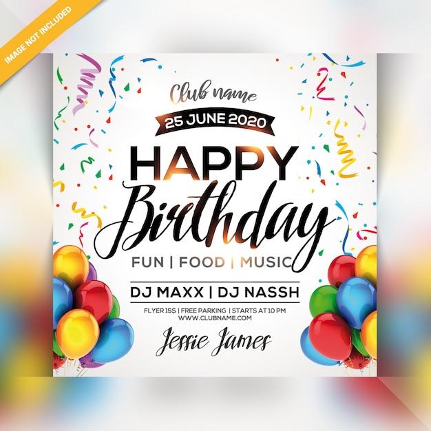 Ulotka Z Okazji Urodzin Premium Psd