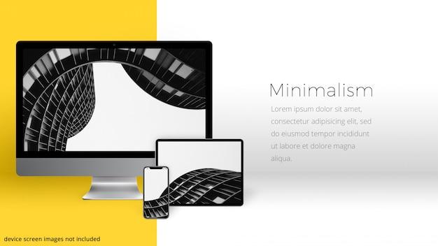 Urządzenia w minimalistycznym pomieszczeniu Premium Psd