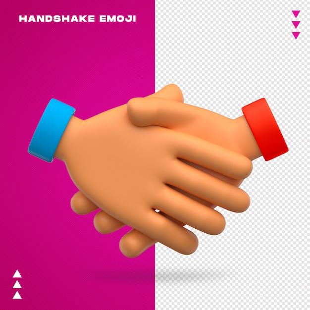 Uścisk Dłoni Emoji Na Białym Tle Premium Psd