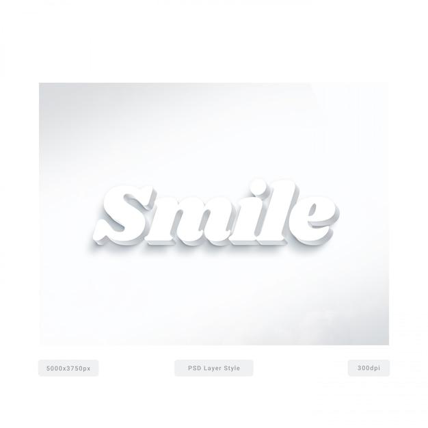 Uśmiechnij Się Efekt Stylu Tekstu 3d Biały Premium Psd