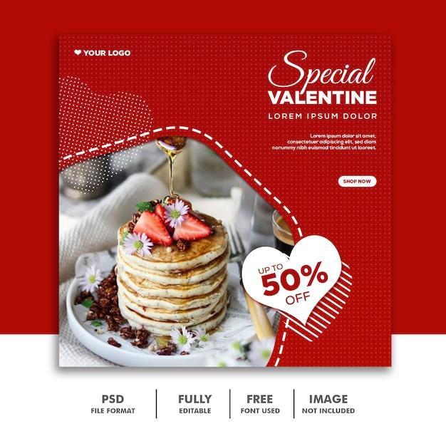 Valentine Banner Social Media Banner Instagram, Food Special Red Sale Premium Psd