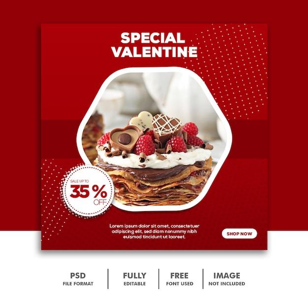 Valentine Banner Social Media Post Instagram, Food Red Cake Special Premium Psd