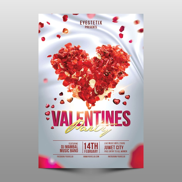 Valentine party flyer Premium Psd